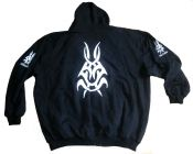 Hooded Sweat Jacket with Tribal Motif