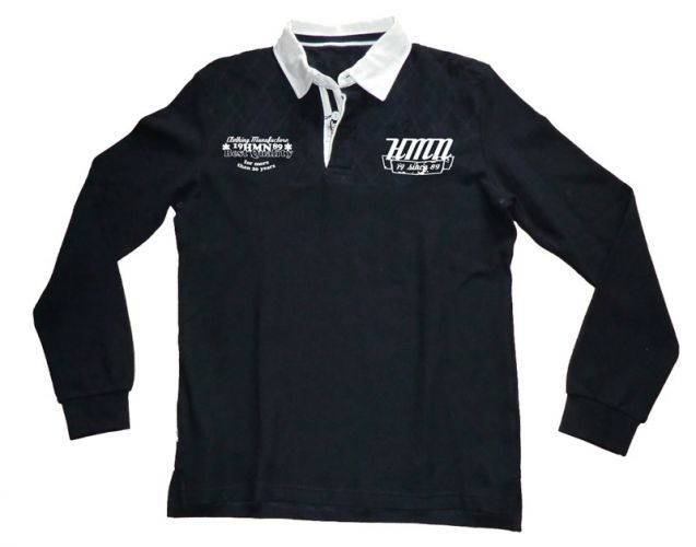 Longsleeve fashion polo shirt navy blue